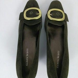 Karen Scott genuine suede lower heel with buckle